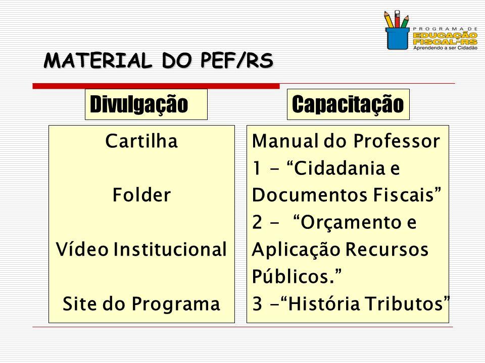 MATERIAL DO PEF/RS Cartilha Folder Vídeo Institucional Site do Programa Manual do Professor 1 - Cidadania e Documentos Fiscais 2 - Orçamento e Aplicação Recursos Públicos.