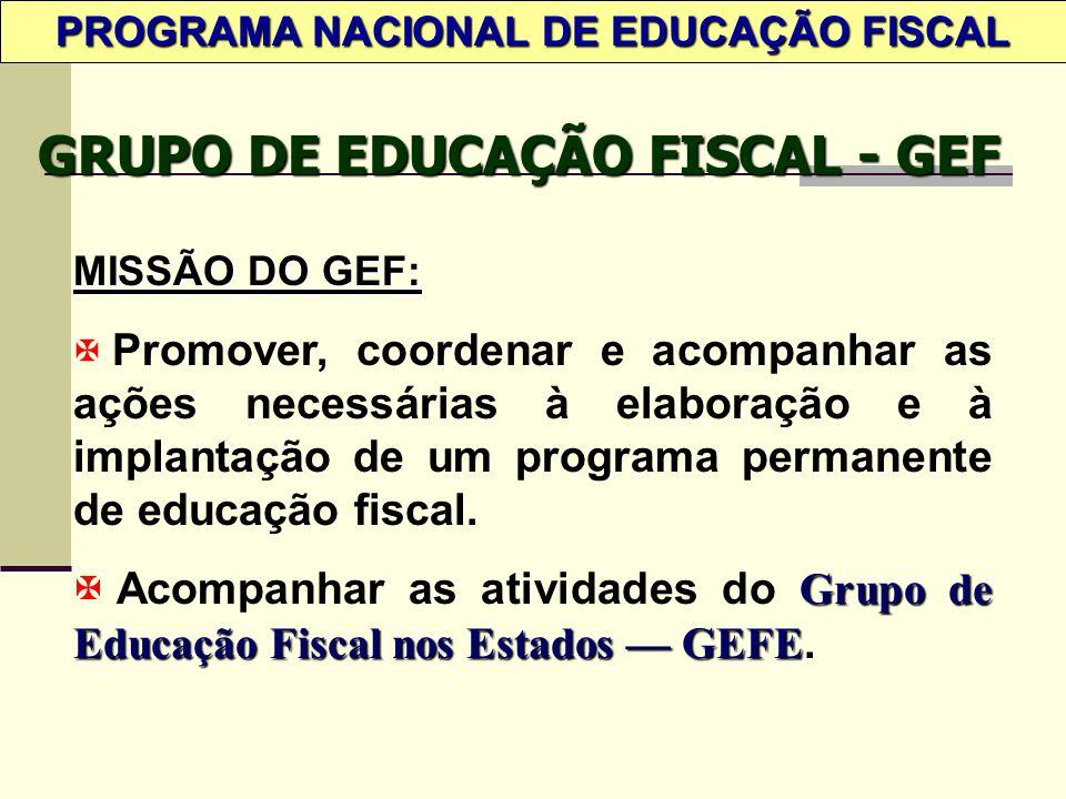 PROGRAMA NACIONAL DE EDUCAÇÃO FISCAL GRUPO DE EDUCAÇÃO FISCAL - GEF MISSÃO DO GEF: X Promover, coordenar e acompanhar as ações necessárias à elaboração e à implantação de um programa permanente de educação fiscal.