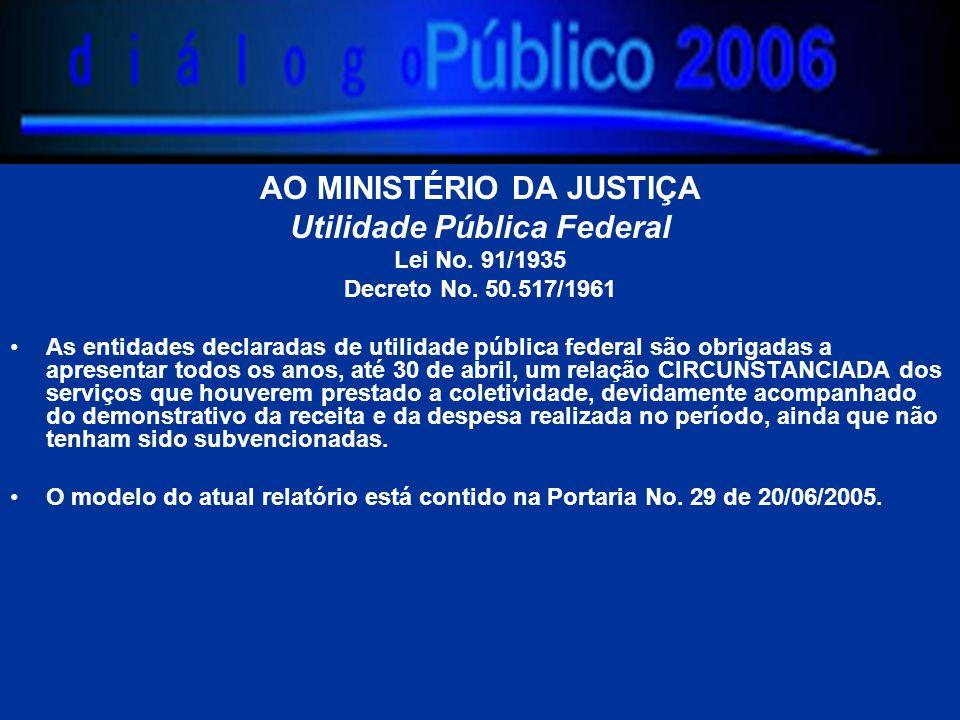 AO MINISTÉRIO DA JUSTIÇA Utilidade Pública Federal Lei No.
