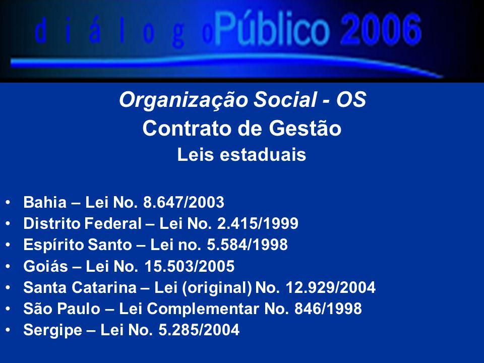 Organização Social - OS Contrato de Gestão Leis estaduais Bahia – Lei No. 8.647/2003 Distrito Federal – Lei No. 2.415/1999 Espírito Santo – Lei no. 5.