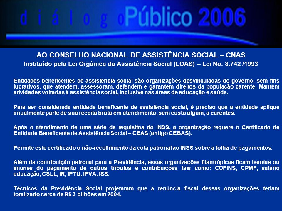 AO CONSELHO NACIONAL DE ASSISTÊNCIA SOCIAL – CNAS Instituído pela Lei Orgânica da Assistência Social (LOAS) – Lei No. 8.742 /1993 Entidades beneficent