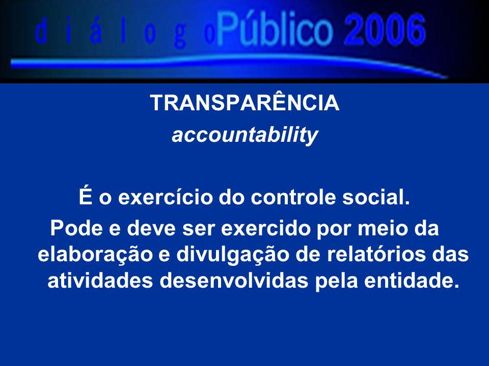 accountability É o exercício do controle social. Pode e deve ser exercido por meio da elaboração e divulgação de relatórios das atividades desenvolvid