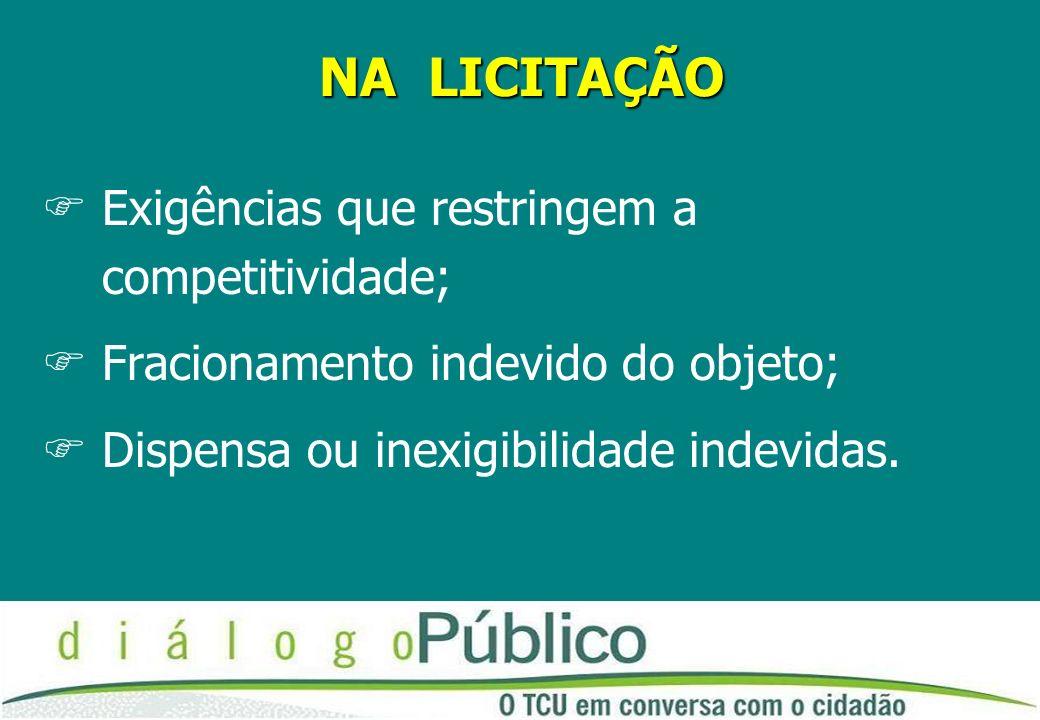NA LICITAÇÃO FExigências que restringem a competitividade; FFracionamento indevido do objeto; FDispensa ou inexigibilidade indevidas.
