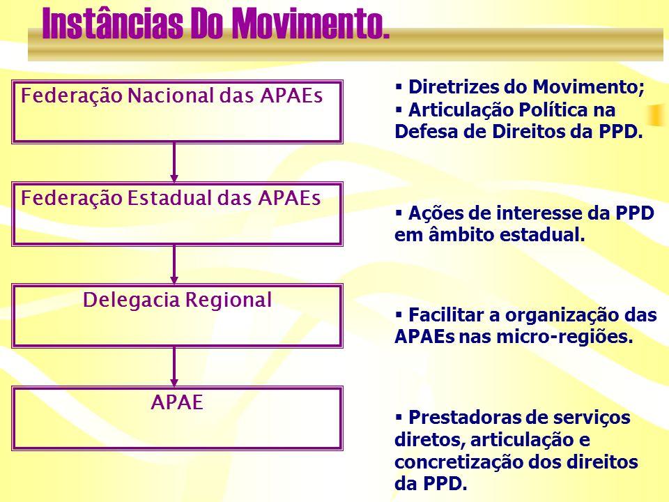 Federação Nacional das APAEs Federação Estadual das APAEs Delegacia Regional APAE Diretrizes do Movimento; Articulação Política na Defesa de Direitos