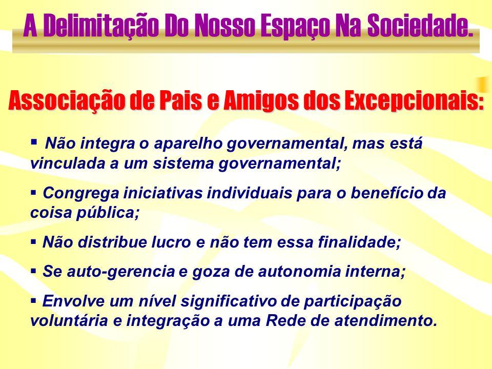 Associação de Pais e Amigos dos Excepcionais: Não integra o aparelho governamental, mas está vinculada a um sistema governamental; Congrega iniciativa