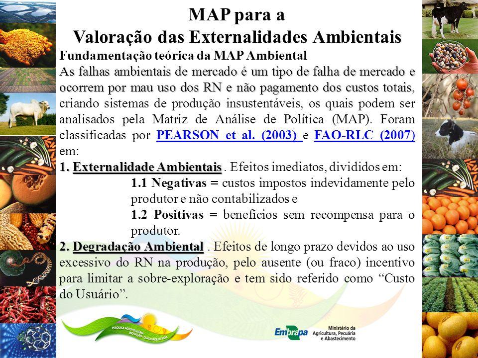 MAP para a Valoração das Externalidades Ambientais Fundamentação teórica da MAP Ambiental As falhas ambientais de mercado é um tipo de falha de mercad