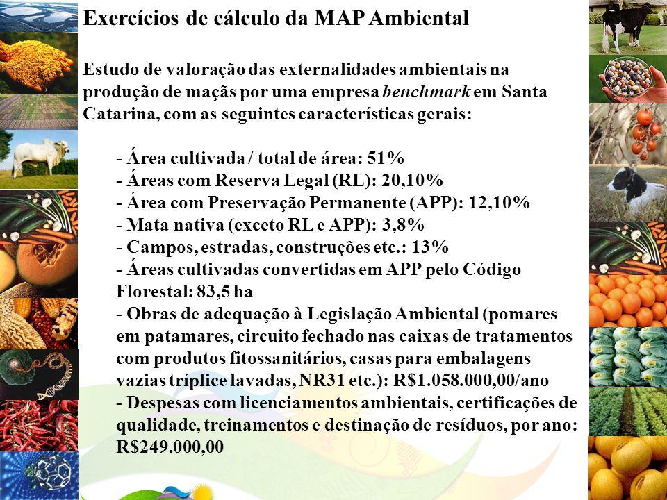 Exercícios de cálculo da MAP Ambiental Estudo de valoração das externalidades ambientais na produção de maçãs por uma empresa benchmark em Santa Catar