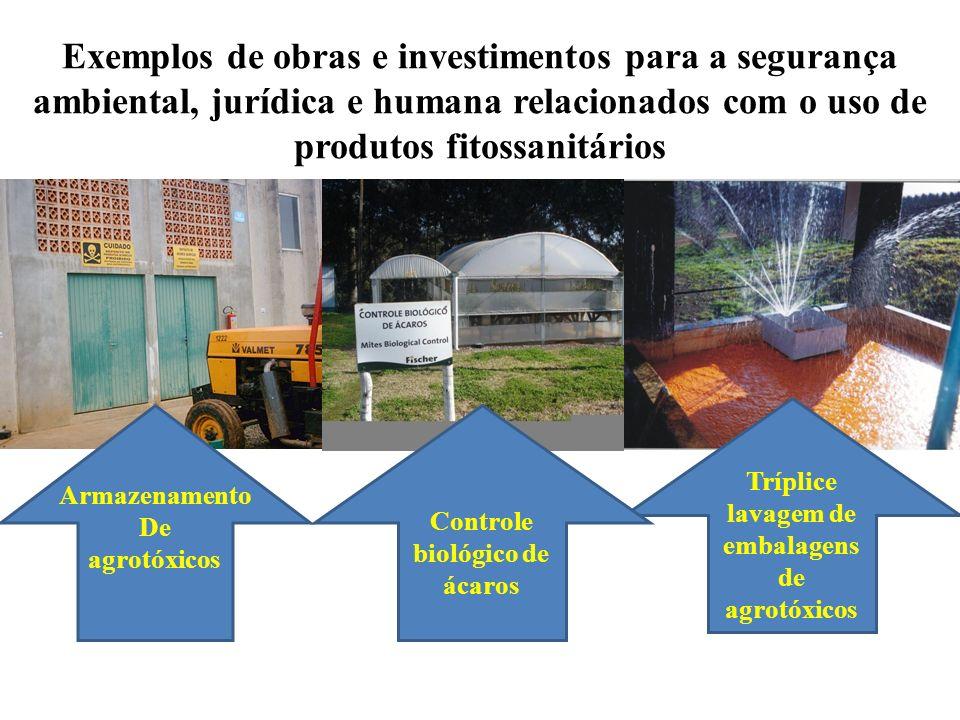 Tríplice lavagem de embalagens de agrotóxicos Controle biológico de ácaros Armazenamento De agrotóxicos Exemplos de obras e investimentos para a segur