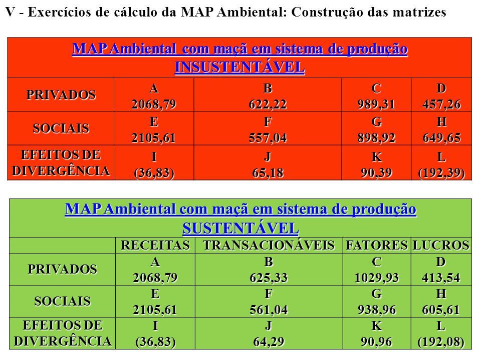 V - Exercícios de cálculo da MAP Ambiental: Construção das matrizes MAP Ambiental com maçã em sistema de produção INSUSTENTÁVEL MAP Ambiental com maçã