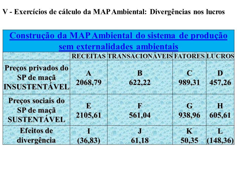 V - Exercícios de cálculo da MAP Ambiental: Divergências nos lucros Construção da MAP Ambiental do sistema de produção sem externalidades ambientais R
