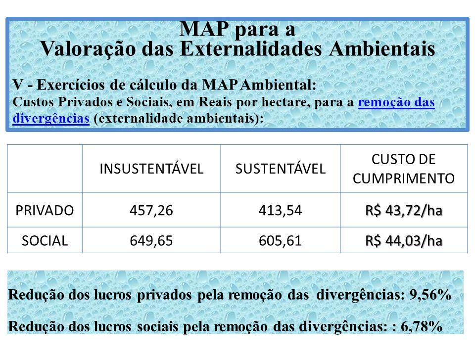 MAP para a Valoração das Externalidades Ambientais V - Exercícios de cálculo da MAP Ambiental: Custos Privados e Sociais, em Reais por hectare, para a