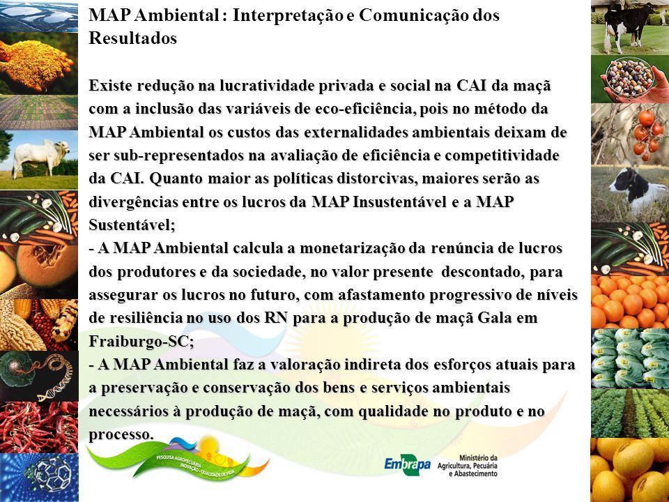 MAP Ambiental : Interpretação e Comunicação dos Resultados Existe redução na lucratividade privada e social na CAI da maçã com a inclusão das variávei