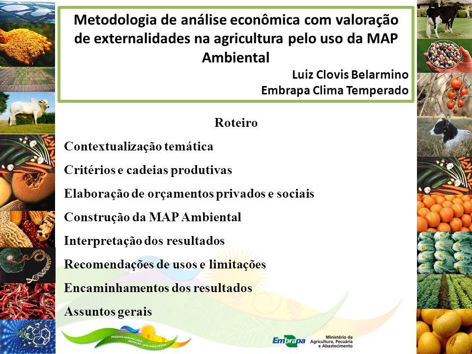 Metodologia de análise econômica com valoração de externalidades na agricultura pelo uso da MAP Ambiental Luiz Clovis Belarmino Embrapa Clima Temperad