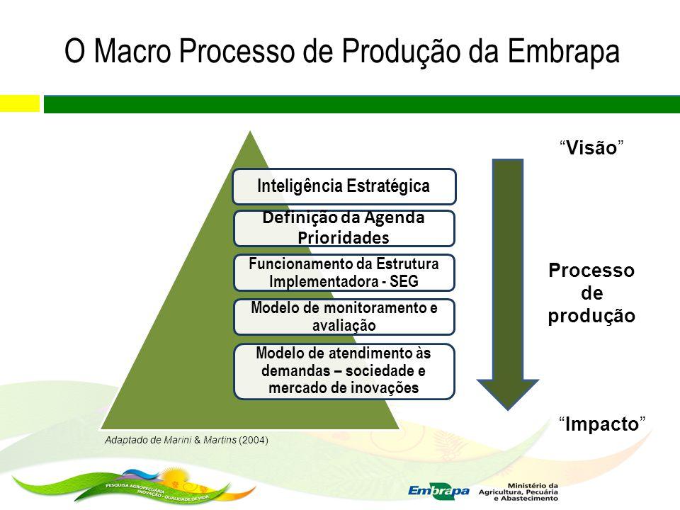 Inteligência Estratégica Definição da Agenda Prioridades Funcionamento da Estrutura Implementadora - SEG Modelo de monitoramento e avaliação Modelo de