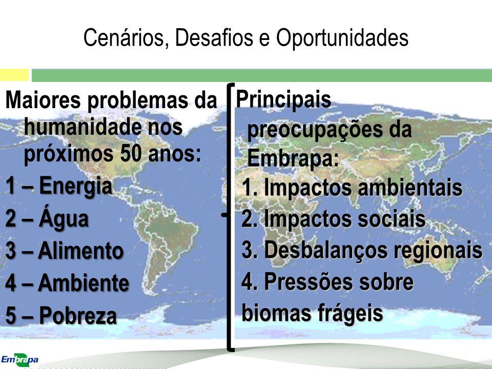 Maiores problemas da humanidade nos próximos 50 anos: 1 – Energia 2 – Água 3 – Alimento 4 – Ambiente 5 – Pobreza Cenários, Desafios e Oportunidades Pr