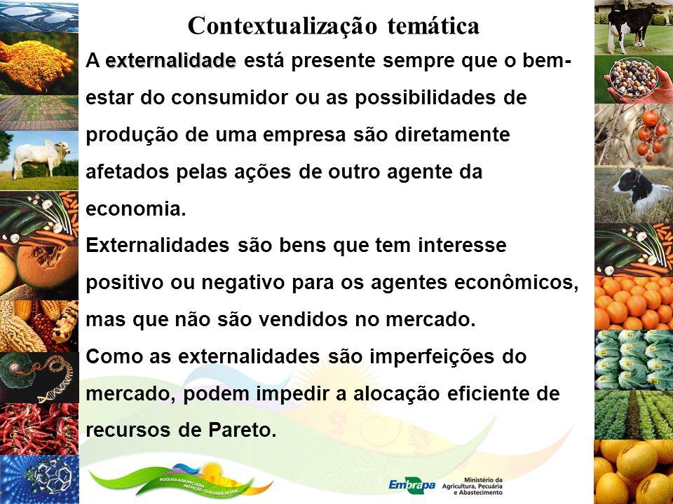 Contextualização temática externalidade A externalidade está presente sempre que o bem- estar do consumidor ou as possibilidades de produção de uma em
