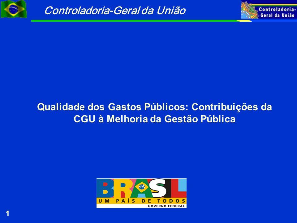 Controladoria-Geral da União 1 Qualidade dos Gastos Públicos: Contribuições da CGU à Melhoria da Gestão Pública