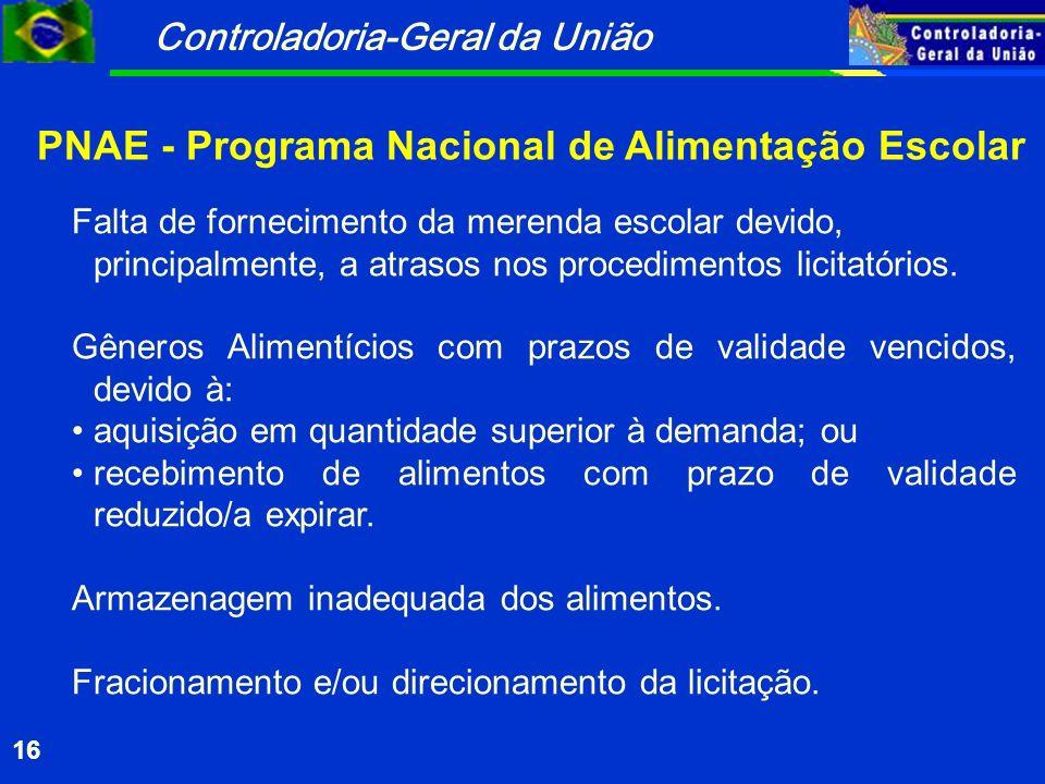 Controladoria-Geral da União 16 PNAE - Programa Nacional de Alimentação Escolar Falta de fornecimento da merenda escolar devido, principalmente, a atrasos nos procedimentos licitatórios.