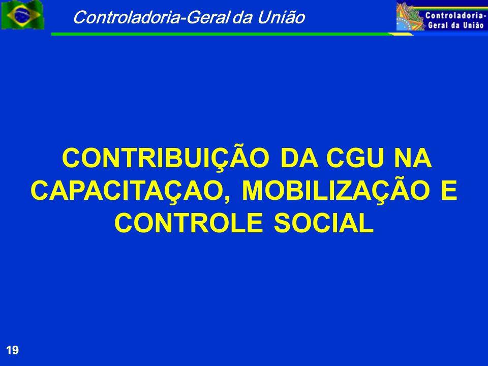 Controladoria-Geral da União 19 CONTRIBUIÇÃO DA CGU NA CAPACITAÇAO, MOBILIZAÇÃO E CONTROLE SOCIAL