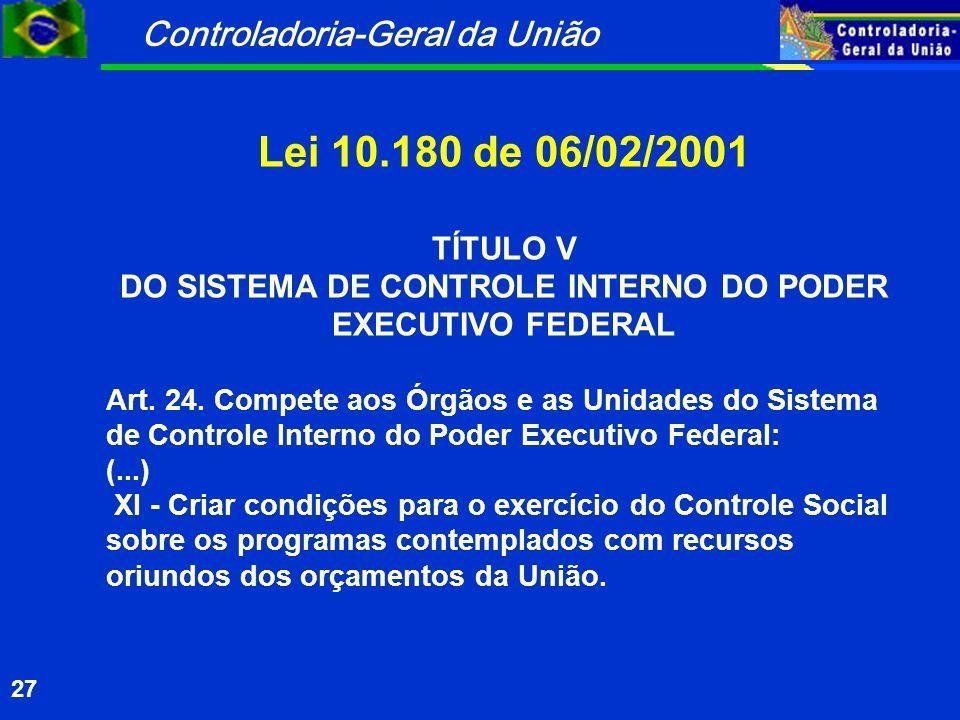Controladoria-Geral da União 27 Lei 10.180 de 06/02/2001 TÍTULO V DO SISTEMA DE CONTROLE INTERNO DO PODER EXECUTIVO FEDERAL Art.
