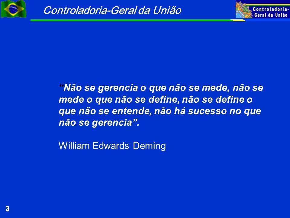 Controladoria-Geral da União 3 Não se gerencia o que não se mede, não se mede o que não se define, não se define o que não se entende, não há sucesso no que não se gerencia.