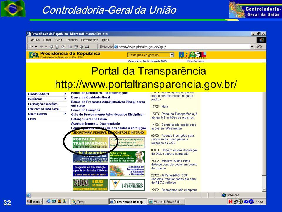 Controladoria-Geral da União 32 Portal da Transparência http://www.portaltransparencia.gov.br/