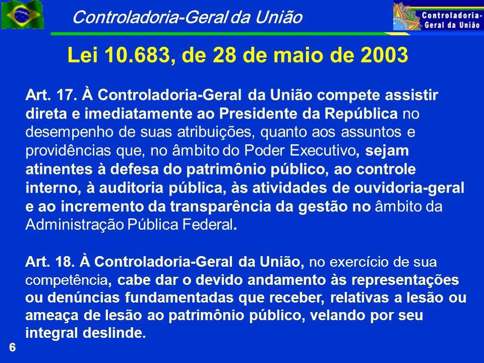 Controladoria-Geral da União 6 Lei 10.683, de 28 de maio de 2003 Art.