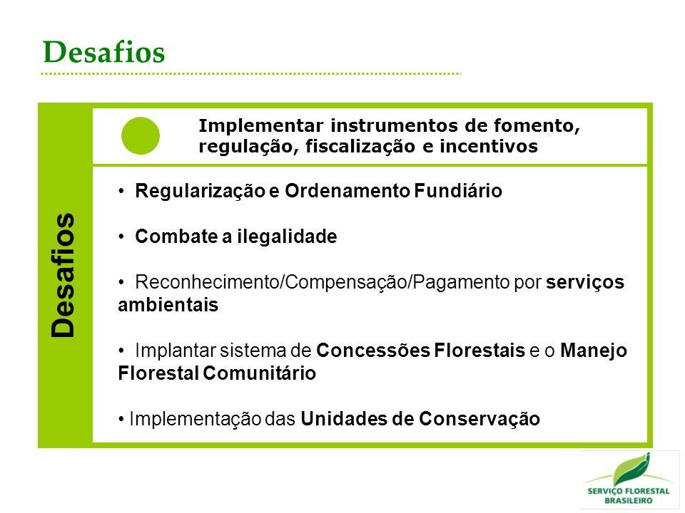 Desafios Implementar instrumentos de fomento, regulação, fiscalização e incentivos Desafios Regularização e Ordenamento Fundiário Combate a ilegalidad