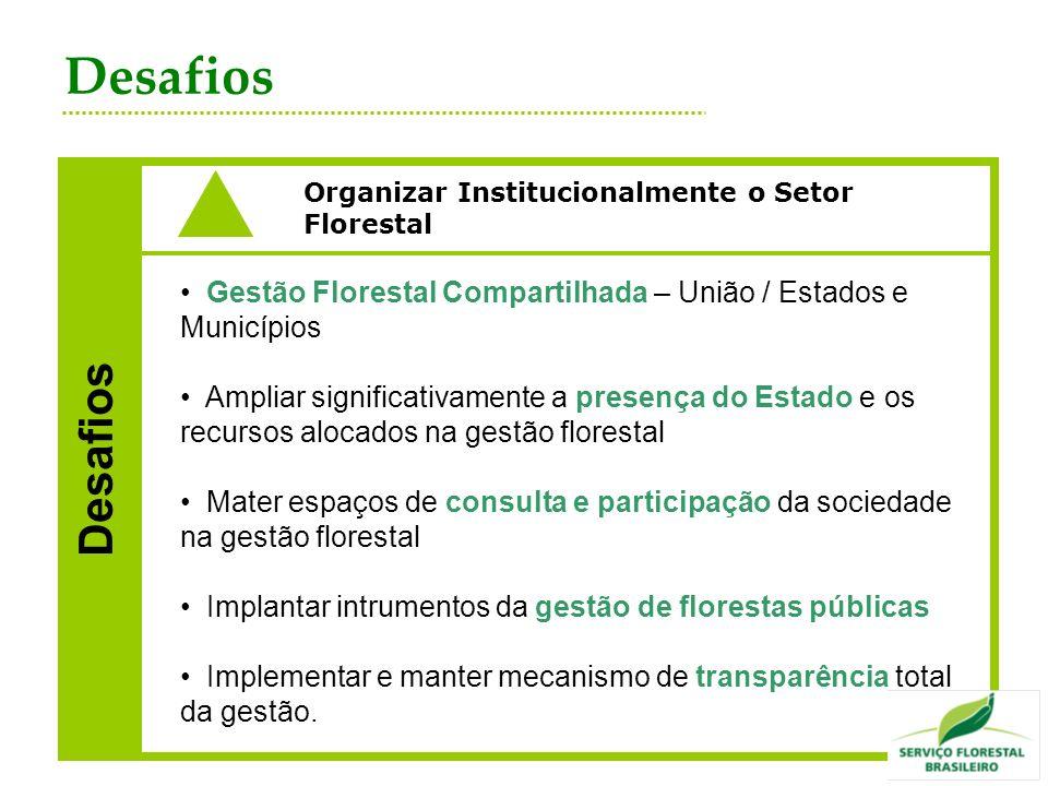 Desafios Organizar Institucionalmente o Setor Florestal Desafios Gestão Florestal Compartilhada – União / Estados e Municípios Ampliar significativame
