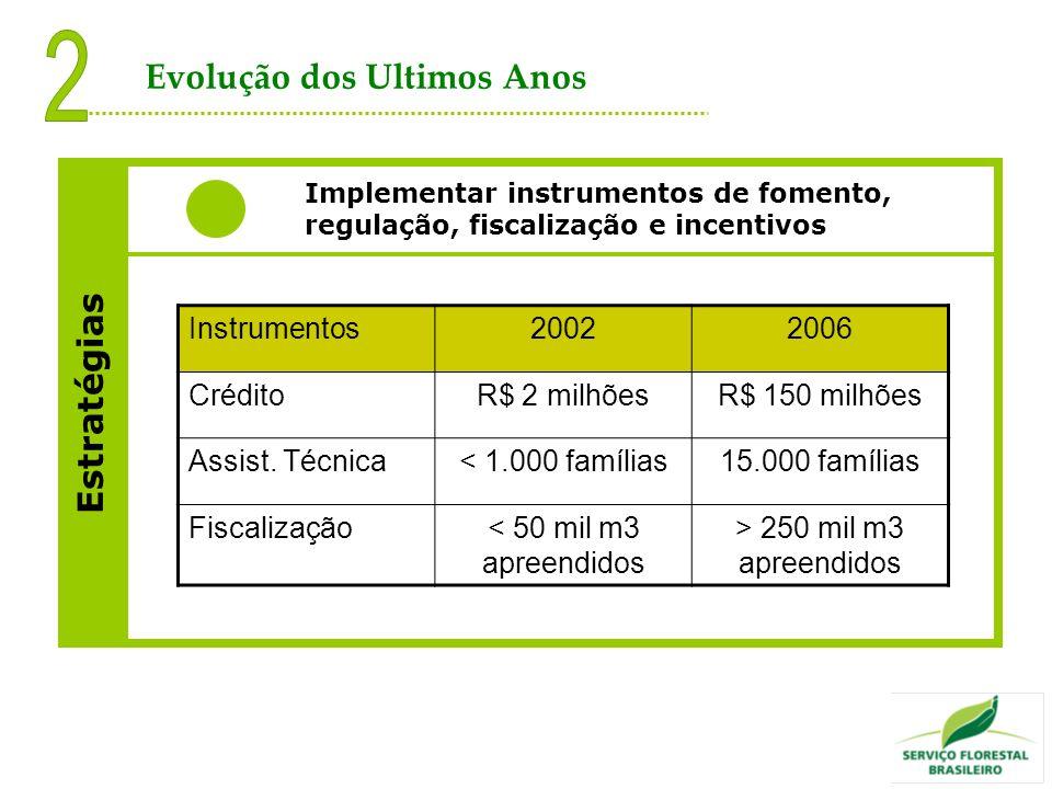 Estratégias Implementar instrumentos de fomento, regulação, fiscalização e incentivos Instrumentos20022006 CréditoR$ 2 milhõesR$ 150 milhões Assist. T