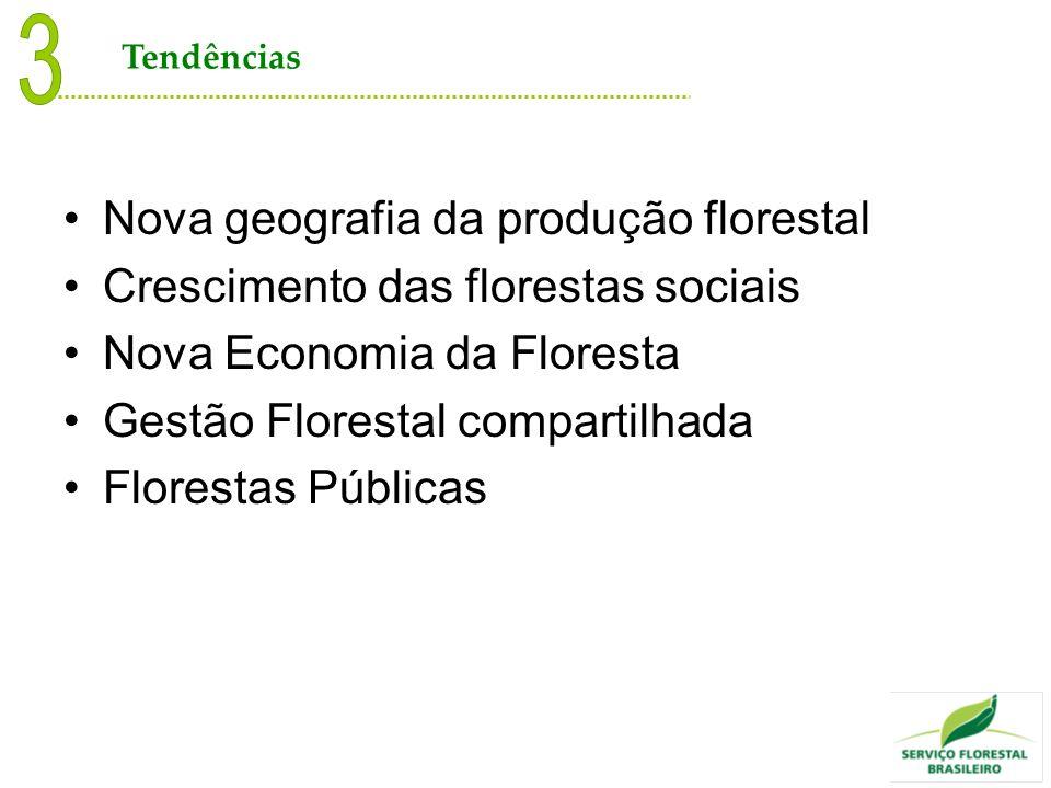 Nova geografia da produção florestal Crescimento das florestas sociais Nova Economia da Floresta Gestão Florestal compartilhada Florestas Públicas Ten