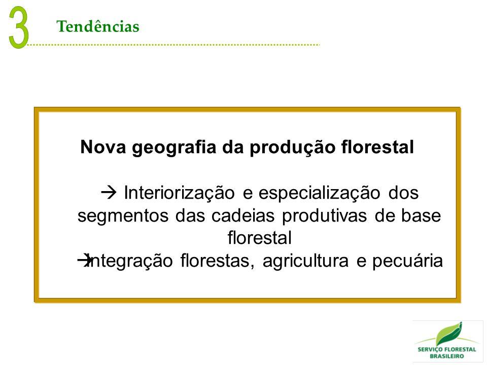 Nova geografia da produção florestal Interiorização e especialização dos segmentos das cadeias produtivas de base florestal Integração florestas, agri
