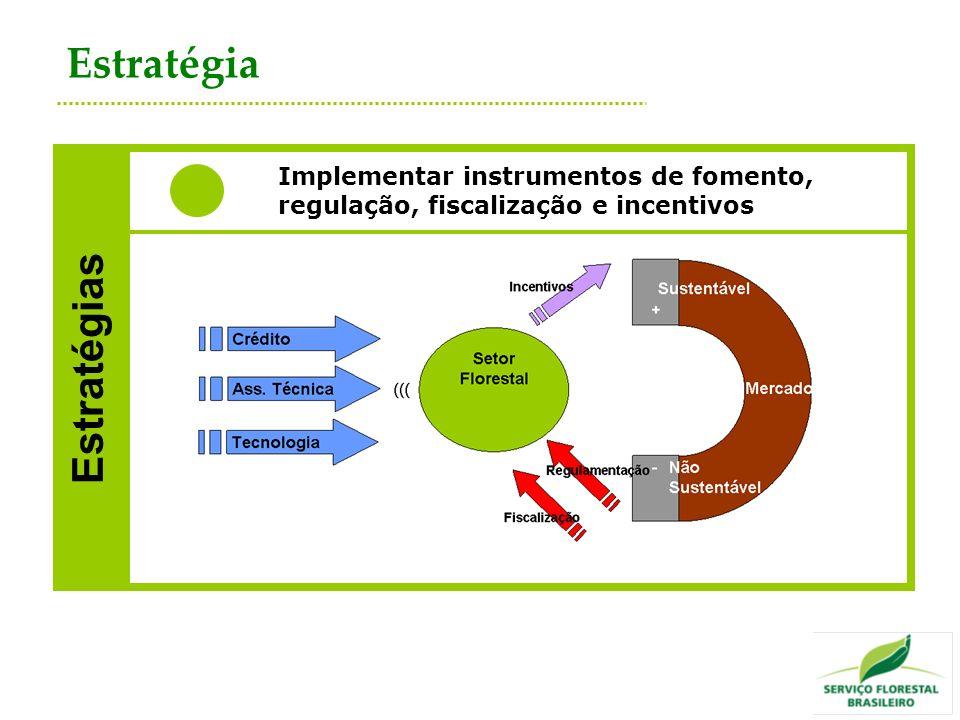 Estratégias Implementar instrumentos de fomento, regulação, fiscalização e incentivos Estratégia