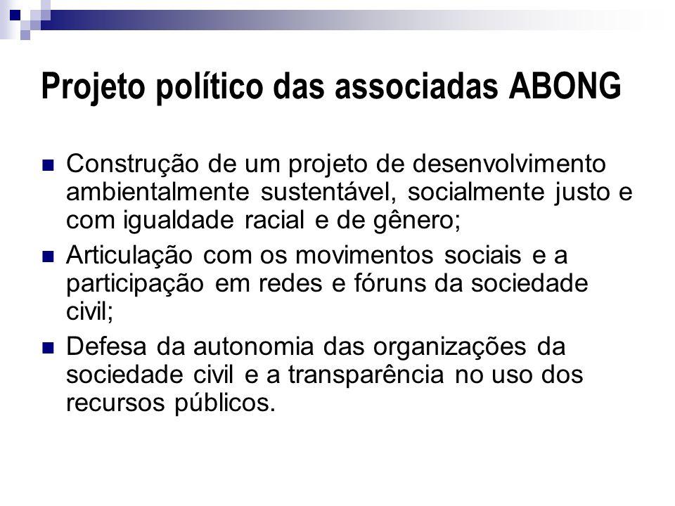 Projeto político das associadas ABONG Construção de um projeto de desenvolvimento ambientalmente sustentável, socialmente justo e com igualdade racial