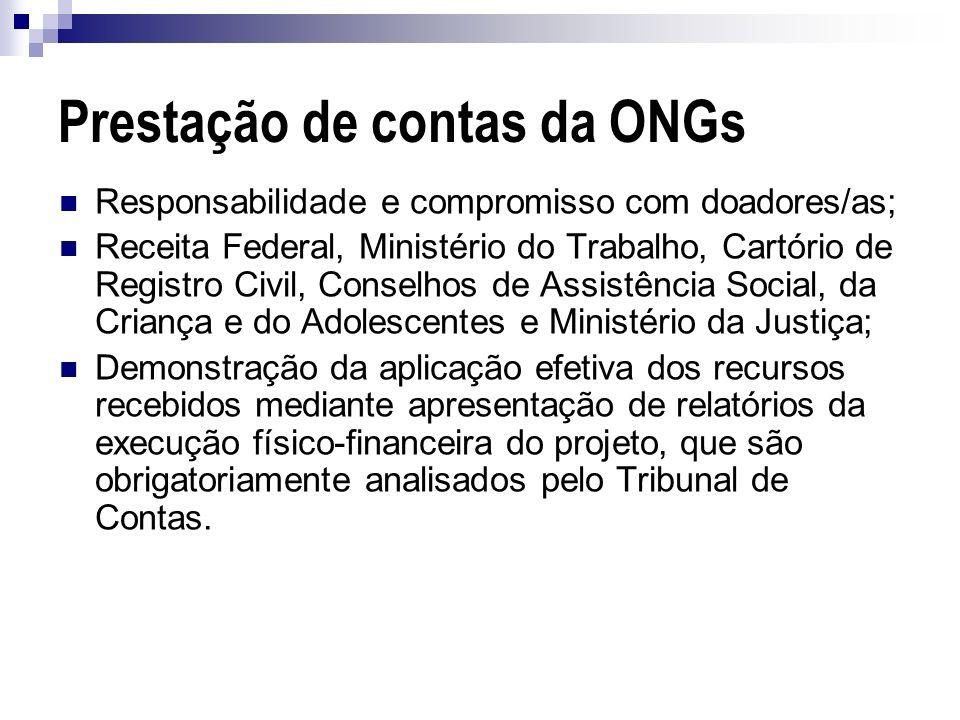 Prestação de contas da ONGs Responsabilidade e compromisso com doadores/as; Receita Federal, Ministério do Trabalho, Cartório de Registro Civil, Conse