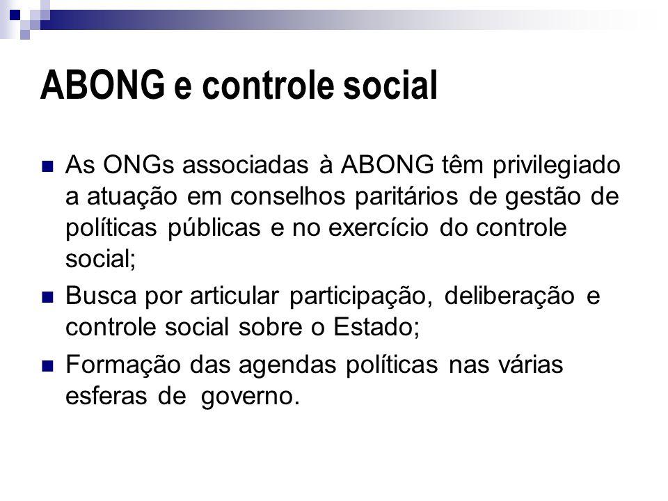 ABONG e controle social As ONGs associadas à ABONG têm privilegiado a atuação em conselhos paritários de gestão de políticas públicas e no exercício d