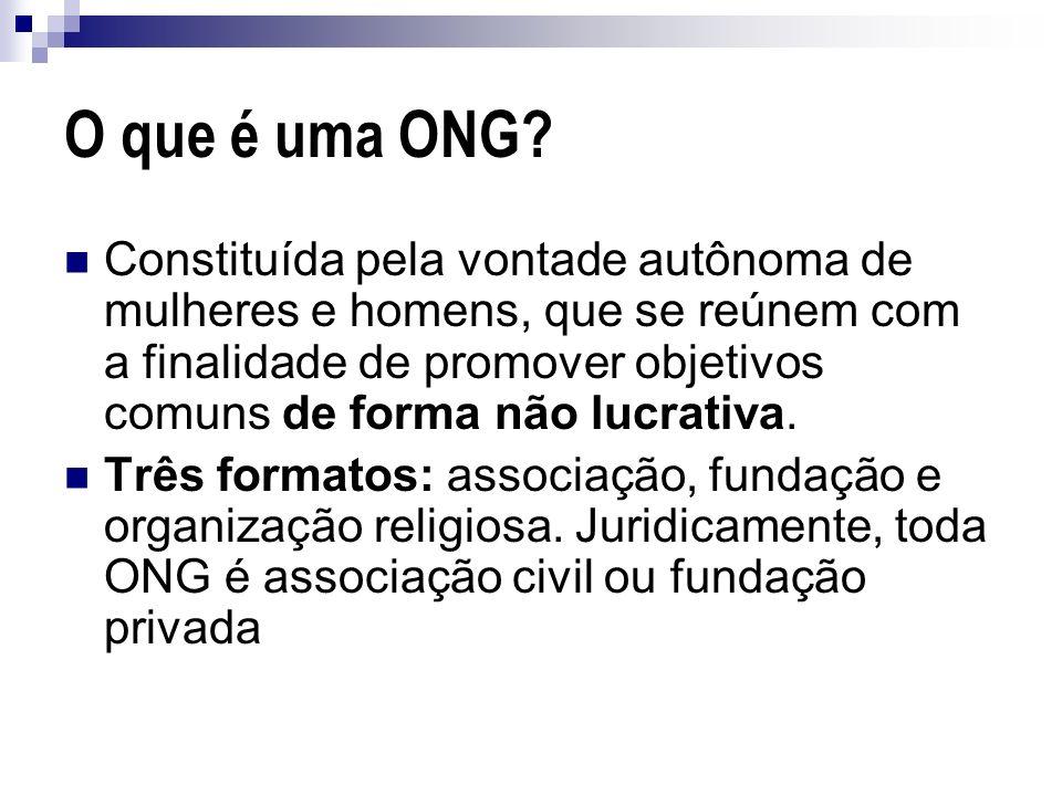 O que é uma ONG? Constituída pela vontade autônoma de mulheres e homens, que se reúnem com a finalidade de promover objetivos comuns de forma não lucr