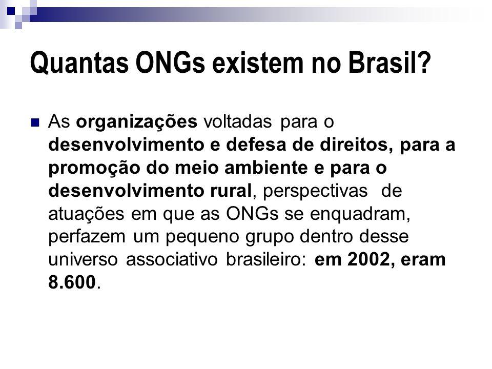 Quantas ONGs existem no Brasil? As organizações voltadas para o desenvolvimento e defesa de direitos, para a promoção do meio ambiente e para o desenv