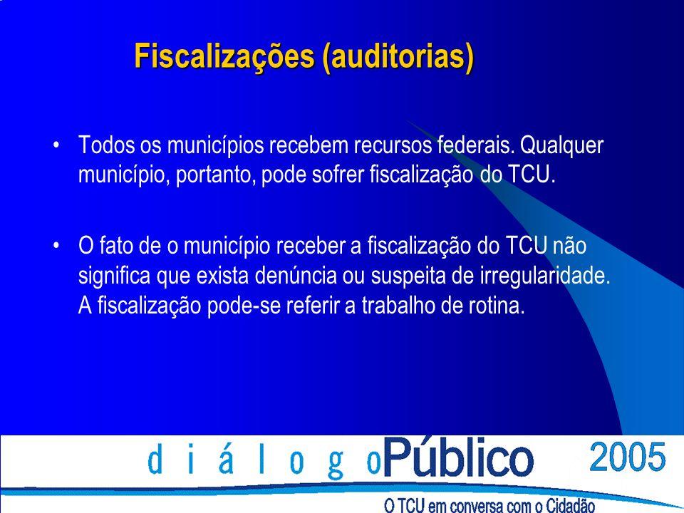 Fiscalizações (auditorias) Todos os municípios recebem recursos federais. Qualquer município, portanto, pode sofrer fiscalização do TCU. O fato de o m