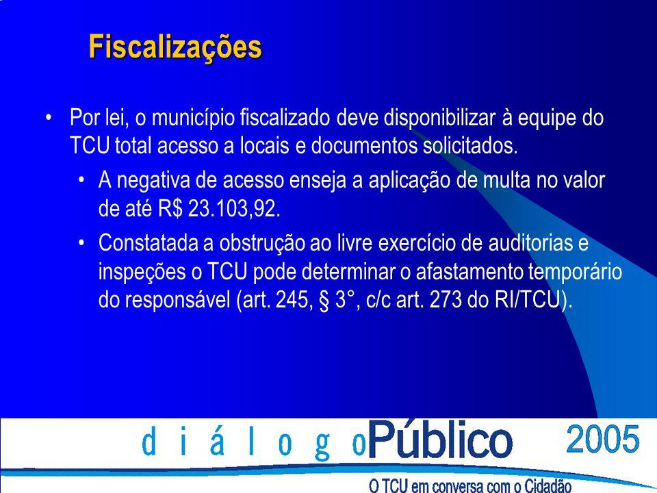 Fiscalizações Por lei, o município fiscalizado deve disponibilizar à equipe do TCU total acesso a locais e documentos solicitados. A negativa de acess