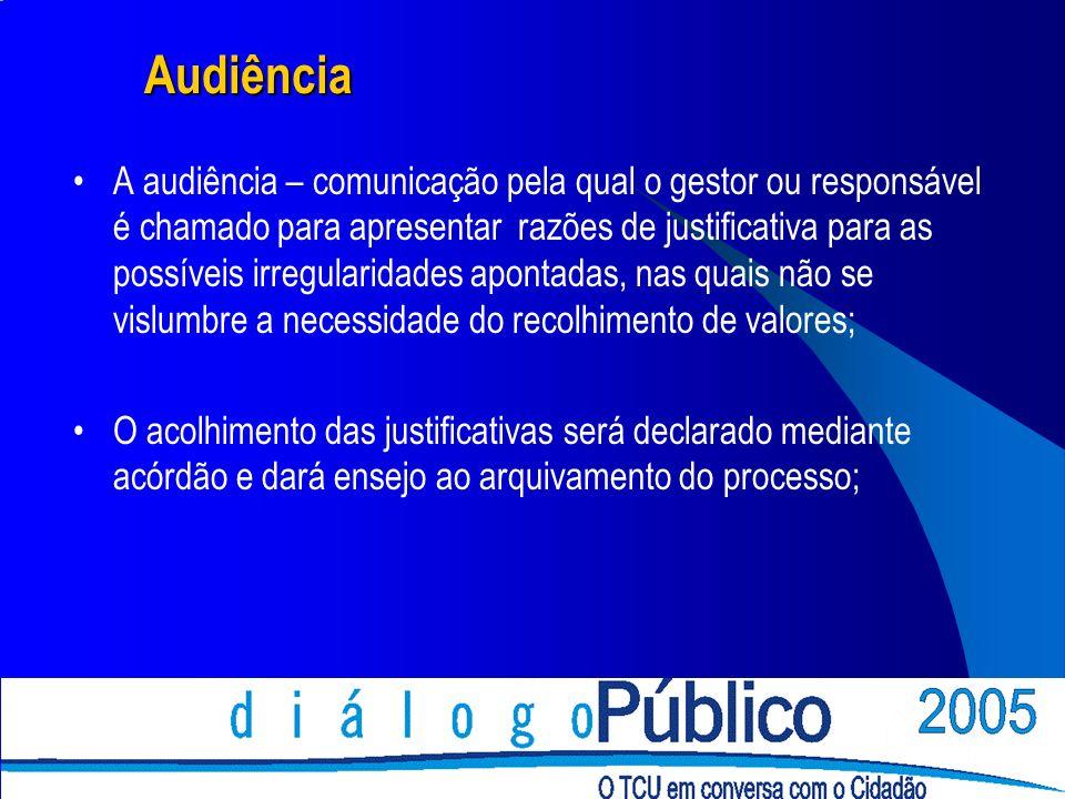 Audiência A audiência – comunicação pela qual o gestor ou responsável é chamado para apresentar razões de justificativa para as possíveis irregularida