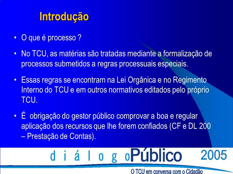 Introdução O que é processo ? No TCU, as matérias são tratadas mediante a formalização de processos submetidos a regras processuais especiais. Essas r