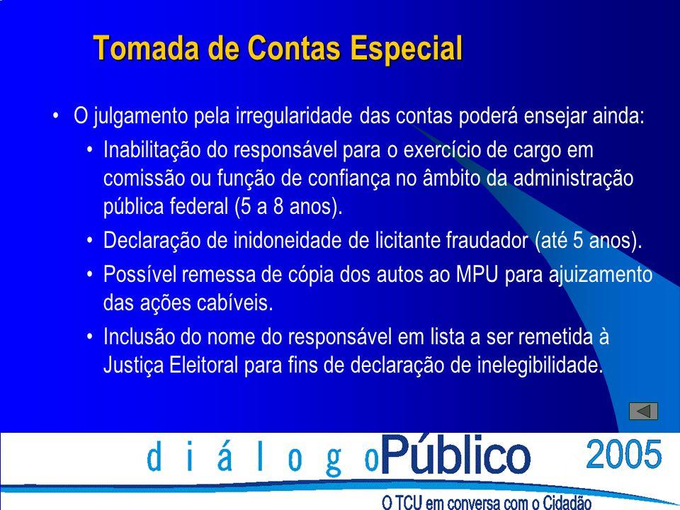 Tomada de Contas Especial O julgamento pela irregularidade das contas poderá ensejar ainda: Inabilitação do responsável para o exercício de cargo em c