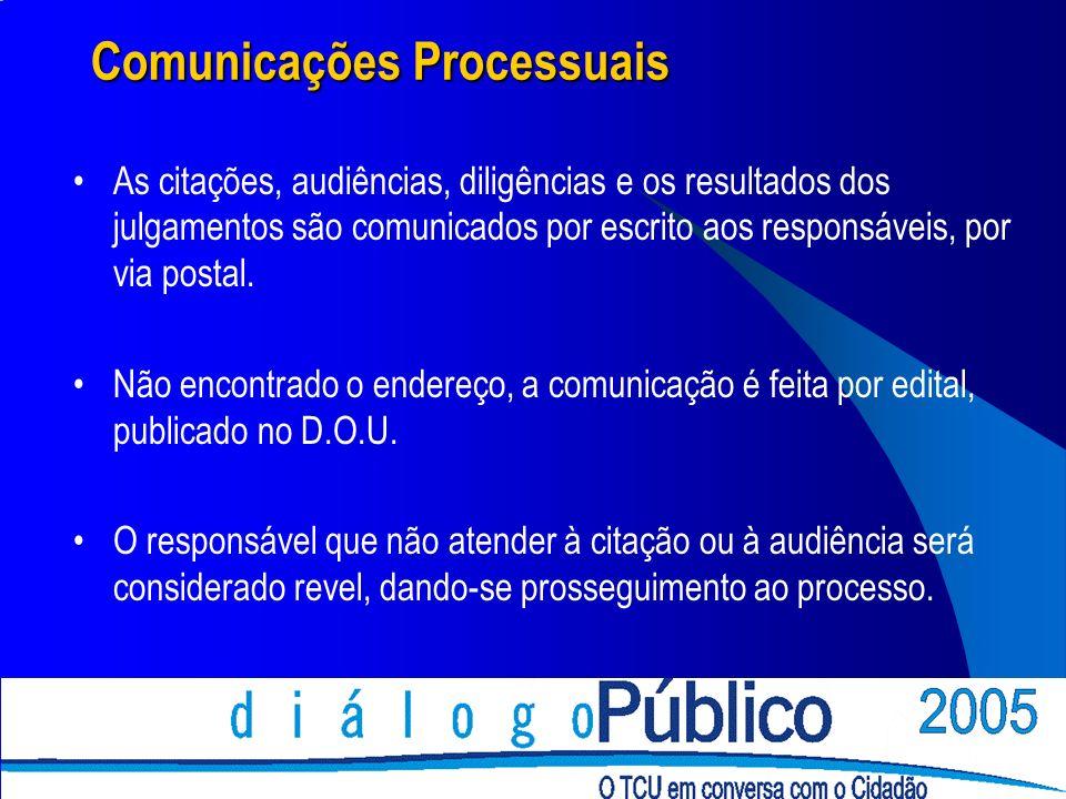 Comunicações Processuais As citações, audiências, diligências e os resultados dos julgamentos são comunicados por escrito aos responsáveis, por via po
