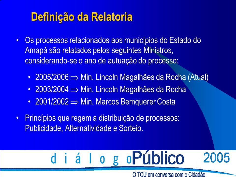 Definição da Relatoria Os processos relacionados aos municípios do Estado do Amapá são relatados pelos seguintes Ministros, considerando-se o ano de a