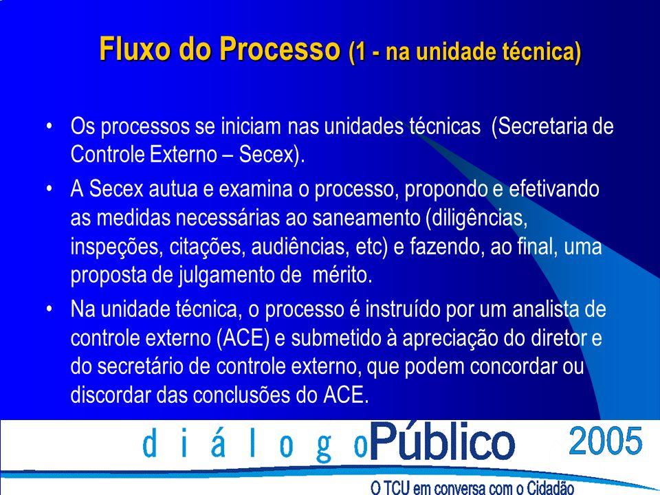 Fluxo do Processo (1 - na unidade técnica) Os processos se iniciam nas unidades técnicas (Secretaria de Controle Externo – Secex). A Secex autua e exa