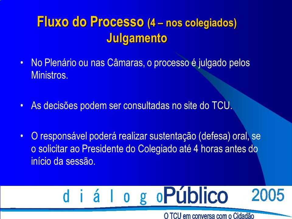 Fluxo do Processo (4 – nos colegiados) Julgamento No Plenário ou nas Câmaras, o processo é julgado pelos Ministros. As decisões podem ser consultadas