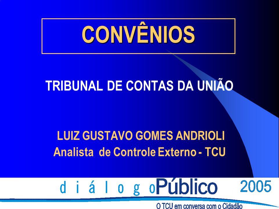 CONVÊNIOS TRIBUNAL DE CONTAS DA UNIÃO LUIZ GUSTAVO GOMES ANDRIOLI Analista de Controle Externo - TCU