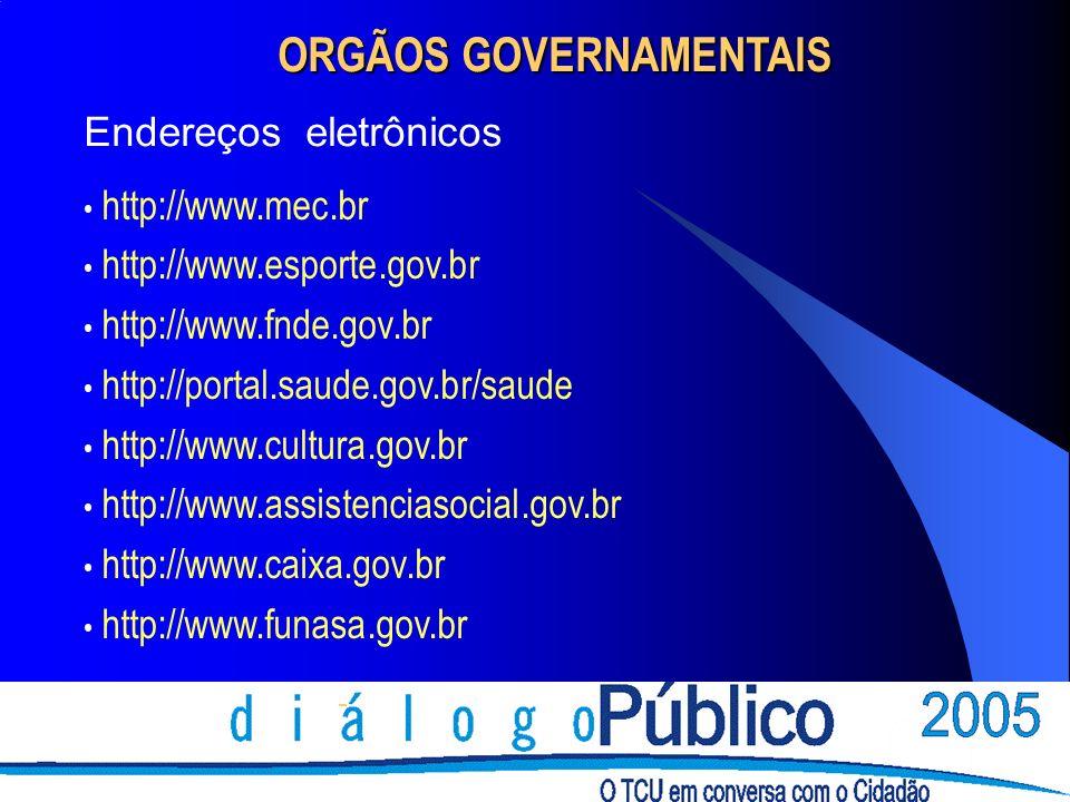 - ORGÃOS GOVERNAMENTAIS Endereços eletrônicos http://www.mec.br http://www.esporte.gov.br http://www.fnde.gov.br http://portal.saude.gov.br/saude http