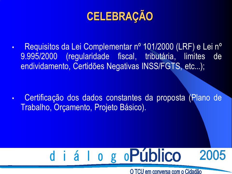 CELEBRAÇÃO Requisitos da Lei Complementar nº 101/2000 (LRF) e Lei nº 9.995/2000 (regularidade fiscal, tributária, limites de endividamento, Certidões